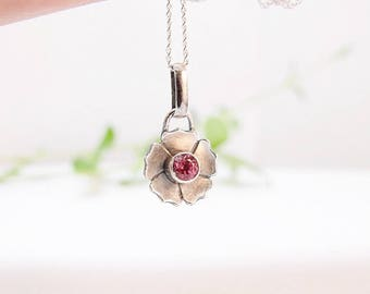 Sterling Silver Pendant Necklace Tiny Pendant Flower Pendant Round Pendant Floral Pendant Wild Rose Flower Pendant Bridesmaid Gift