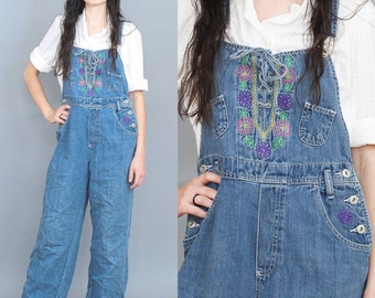 90's Drawstring Denim Overalls with Embroidery in Small or Medium 1990s Overpant Flares Wide Leg Bohemian Floral Patchwork Pockets