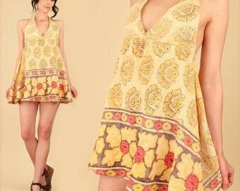 Indian Gauze Cotton Mini Dress ViNtAgE 70's Babydoll Bohemian India Festival Dress Hippie BoHo Gypsy Floral Lavender S M