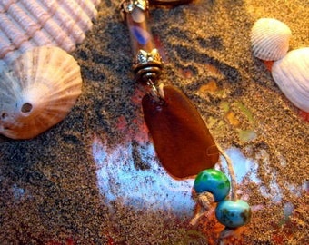 Bubbles and Baubles of Seaside Delight - Vintage look Genuine San Francisco Sea Glass bottle pendant w/ handmade beads