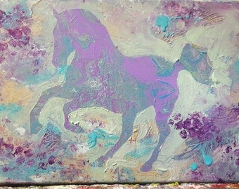 Prancing Horse silhoutte on an abstract, Poured Painting background, can be customized with name or other lettering at no extra charge