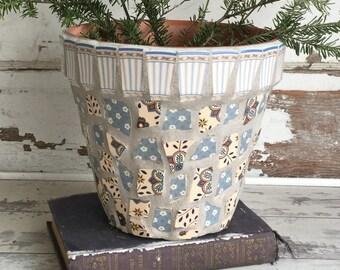 Broken China Mosaic Flower Pot - 8 Inch Blue Striped Mikasa Dubonnet Blue