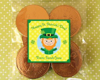 Personalized St. Patrick's Day Gift Tags or Stickers - DIY Printable - Lucky Leprechaun (Digital File)