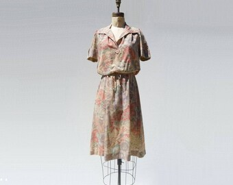 Vintage 70s Dress Floral Midi Dress Beige Floral Dress Short Sleeve Dress Summer Midi Dress Neutral Dress xs petite
