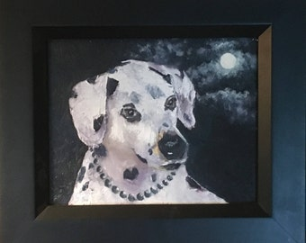 Original oil painting, Dalmatian dog, collectible Texas artist, Moon Spots and Black Pearls, framed or unframed