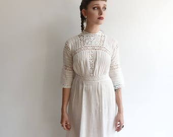Antique Edwardian Lawn Dress/ White Linen and Crochet Lace Tea Dress/Sheer Wedding Dress/1900 1910s/XS