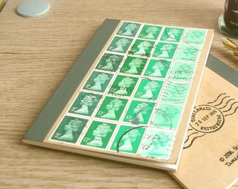 Bottle Green Notebook - ruled A6 journal, recycled British stamp collection, retro Machin stamps, stamp collector gift, eco friendly gift