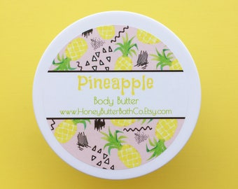 Pineapple Body Butter | Fruity | Tropical | Birthday | Lotion | Unique | Gift for Her | Cream | Bath | Beauty | Mom | Yellow | Hawaii | Tart