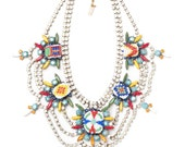 One-of-a-Kind Statement Necklace, Hand-Painted Vintage Crystals and Seed Beads- Ottawa