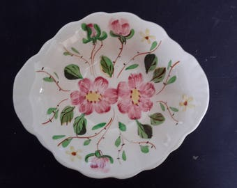 Hand painted, Blue Ridge, Southern Potteries Inc., Made in USA, porcelain, ceramic, rose, bowl, scalloped,