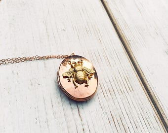 Rose Gold Bee Locket Necklace Rose Gold Bumblebee Necklace Autumn Honeybee Rose Gold Locket Gift for Her Beekeeper Gift Bee Necklace