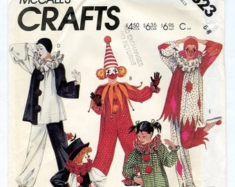 Vintage Clown Costume For Kids McCalls 2623 UNCUT Sewing Pattern Size 6-8 Boys and Girls - Dress Up Play, Circus, Halloween