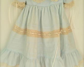 Traditional Classic Heirloom Lace Blue Baby Girl Older Girl Portrait Dress Collar Ivory Lace and Pintucks