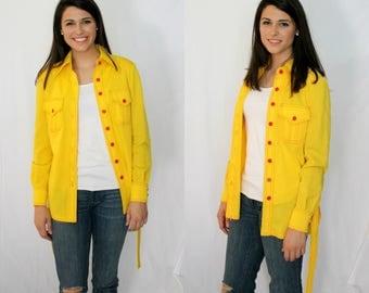 Yellow Red Safari Style Blouse Jacket - Belt - Top Stitch - 1970s - Small