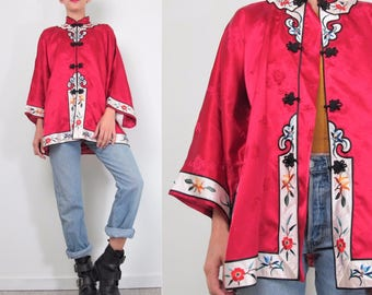 60s 70s Chinese Blouse Mandarin Collar Floral Embroidered Jacket Lounge Wear Bright Red Brocade Rayon Asian Blouse Chinese Wedding M/L