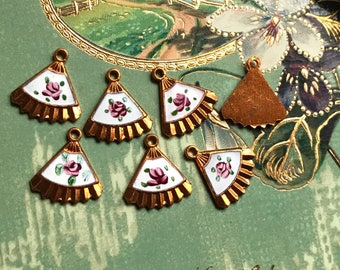 4 Vintage Guilloche Charms, Fan charms, Enamel charms, hand painted rose, Victorian charms, vintage adornments NOS, Copper Charms, #1290L
