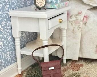 SALE Miniature Purse, Brown Leather Purse, Fringed Flap Purse, Dollhouse Miniature, 1:12 Scale, Dollhouse Accessory, Decor, Mini Bag