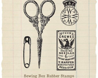 Sewing Box unmounted rubber stamps