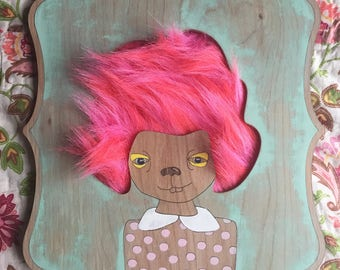 """Tulia in Hot Pink, One-of-a-kind Petable Wall Art, 10.75""""x14"""""""