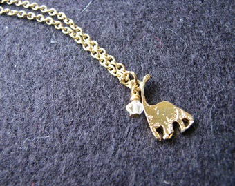 Dinosaur necklace gold | small charm | brontosaurus | long neck dinosaur | dainty