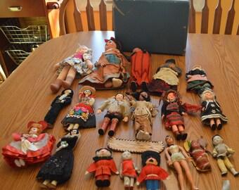 Set of 18 Vintage DOLLS--estate find--Indian dolls, yarn dolls, etc.