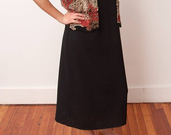 Vintage Two Piece Dress Set - Black Tank Dress with Patterned Jacket - Vtg 2 Piece Set - 90s Fashion - Studio I Petite - Size Medium