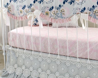 Ethereal Lullaby Gray Pink and Navy Floral Baby Bedding Set, featuring Bumperless Rail Cover, Crib Sheet Options, & Crochet Lace Skirt