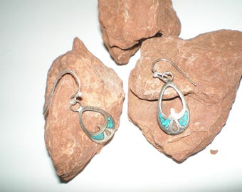 "Turquoise Peyote Bird Earrings Sterling Silver Vintage Navajo Inlaid ""Coral & Turquoise"" Dangles"
