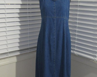 Denim Halter Top Long Dress, Lightweight Denim Dress, Medium, 6, 8, 10