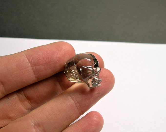 Crystal faceted skull - 1  pcs - 20mm - Smokey grey - SFB4