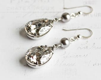 Large Silver Crystal Rhinestone Teardrop Dangle Earrings with Gray Pearl ('Silver Patina' Swarovski Elements)