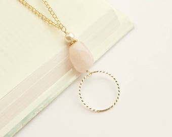 Gold Lanyard Pink, Gold Eyeglass Chain Loop, Rose Quartz Glasses Chain, Beaded Pink Eyeglass Chain Necklace, Pretty Lanyard Gold For Her