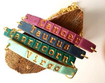 Zodiac Bracelet, Skinny, Color, Bracelet, Aries, Taurus, Gemini Cancer, Leo, Virgo, Libra, Scorpio, Sagittarius, Capricorn, Aquarius, Pisces