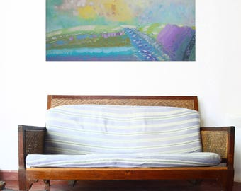 Unusual artwork pastoral painting Stylish painting narrow painting alla prima Lavender field Fog painting relax painting meadow painting