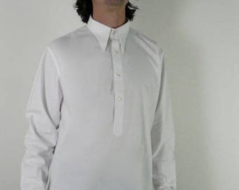 1930s 1940s spearpoint collar cotton shirt with a french cuff