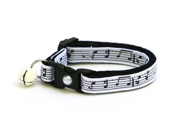 Musician Cat Collar - Music Notes on White - Small Cat / Kitten Size or Large Size