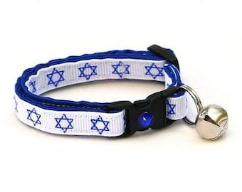 Hanukkah Cat Collar - Star of David on White - Small Cat / Kitten Size or Large Size