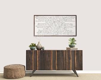 Scripture Wood Sign, The Beatitudes, Matthew 5:1-12, Farmhouse Wood Sign, Modern Farmhouse, Rustic Wood Sign, Farmhouse Decor, Wall Art