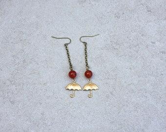 Des Moines Traveller Umbrella Earrings with Carnelian // Dangle Umbrella Earring // Long Chain Drop Earring // Gift for Her // Boho Jewelry