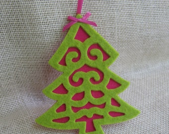 Lime Green Christmas Tree, Hot Pink Felt Ornament, Pink and Lime Green Decor, Christmas Tree, Gift Embellishment, Felt Tree Ornament