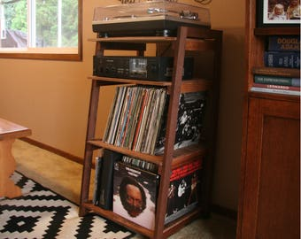 Record Player Stand .. Handmade From Wood ...Holder For Vinyl Album And