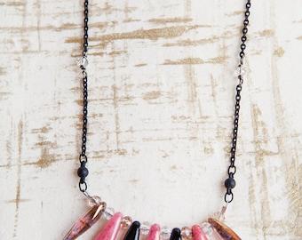 Pink Dagger Necklace, Pink, Dagger Necklace, Black Pink, Long Dagger Necklace, Tribal Bib Necklace, Boho Necklace, Minimalist Necklace
