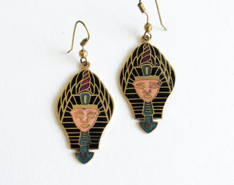 Pharaoh Cloisonne Vintage Enamel King Tut Dangle Earrings