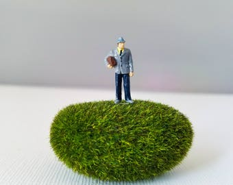 Miniature World Terrarium People Tiny Man in Grey Waiting HO Scale Hand painted One of a Kind Railroad