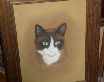Original CAT PORTAIT/Vintage/J Best/Wooden  Frame/Ready To Hang/