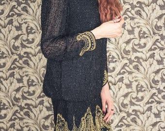 1980s Silk beaded dress, evening dress , 1980s doing 1940s, party dress, bohemian party dress, bohemian dress, bohemianfashion