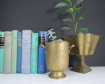 Vintage Brass Planter // ONE Mid Century Modern Tall Brass Urn Pot Vase Sleek Mod Hollywood Regency Succulent Indoor Planter Flower Pot