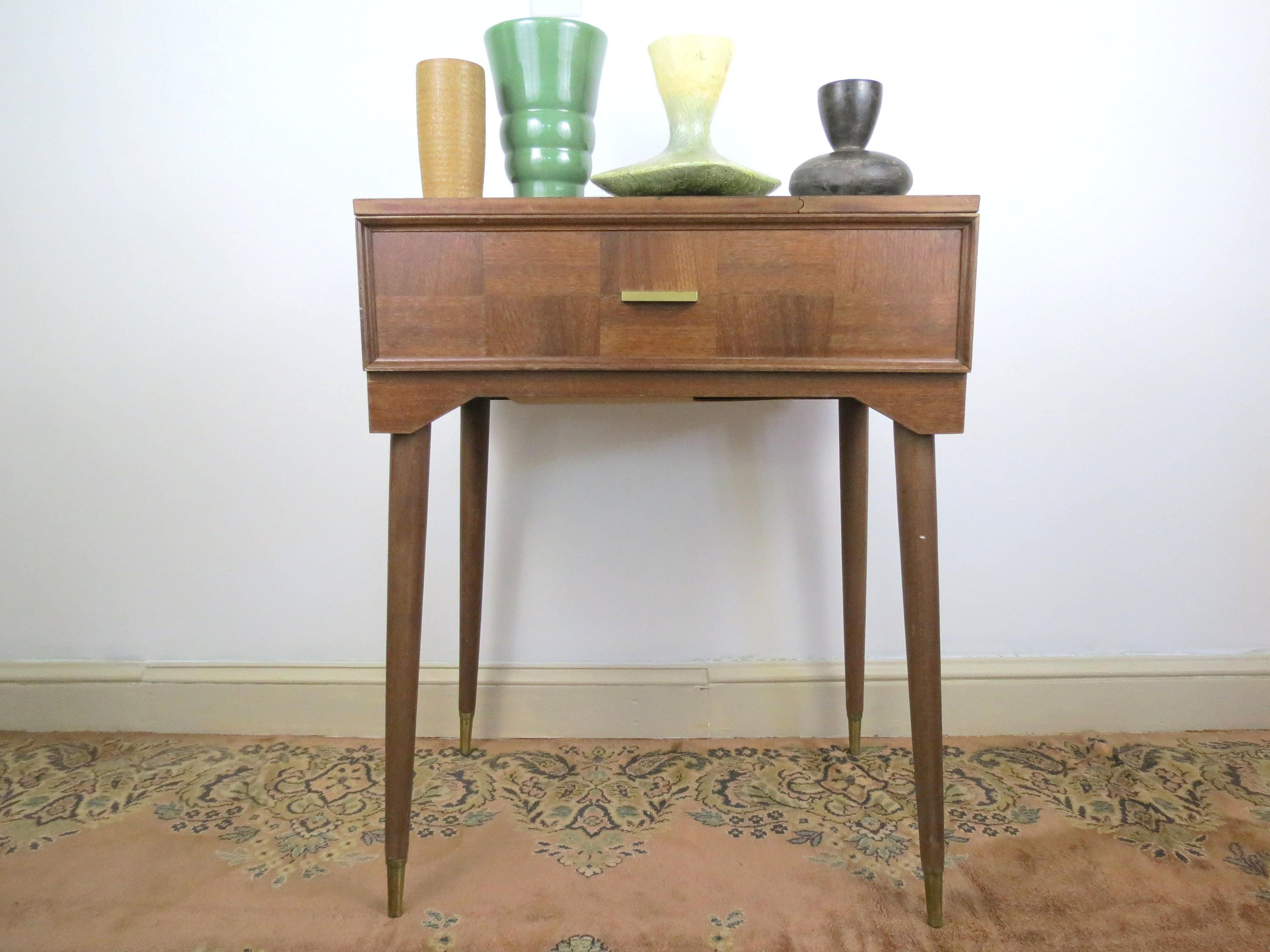 Mid century sewing table vintage modern style sewing desk without mid century sewing table vintage modern style sewing desk without sewing machine end table watchthetrailerfo