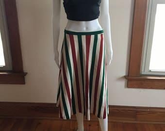 Vintage Green,Red,Beige striped A-line midi-calf skirt