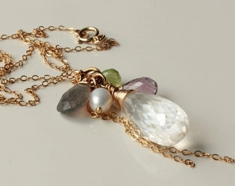 Mixed Gemstone Cluster Necklace, Quartz, Amethyst, Peridot, Labradorite, Pearl, Goldfilled, chain fringe pendant, holiday gift for her, 4043